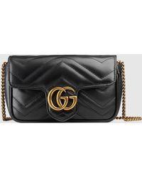 Gucci 【公式】 (グッチ)〔GGマーモント〕キルティングレザー スーパーミニバッグブラック シェブロン レザーブラック