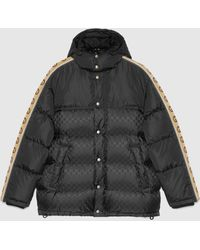 Gucci Wattierter Mantel aus Nylon mit GG Jacquard - Schwarz