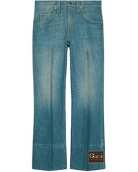 Gucci Marble Stone-bleached Denim Flare Pants - Blue