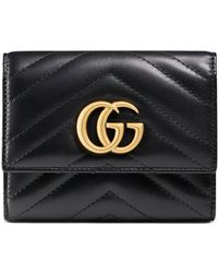 Gucci Brieftasche GG Marmont aus Matelassé-Leder - Schwarz