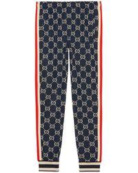 Gucci Pantalon de jogging en jacquard GG - Bleu