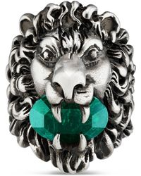 Gucci - Löwenkopf-Ring mit Kristall - Lyst