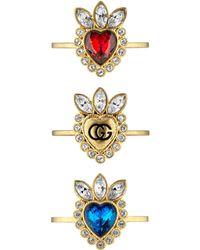Gucci Bagues cœur en cristaux - Métallisé