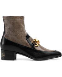 Gucci Horsebit Chain Boot With Lizard - Brown