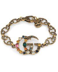 Gucci Pulsera con Doble G de Cristales - Metálico