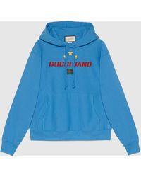 Gucci グッチ Band プリント フーデッド スウェットシャツ - ブルー