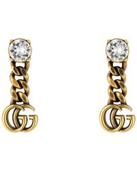 Gucci Crystal Double G Earrings - Metallic