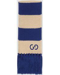Gucci Schal aus gestreifter Baumwolle - Weiß