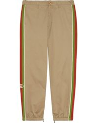 Gucci Cotton Pants With Stripes - Natural