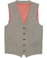 Gucci Houndstooth Wool Formal Vest - White