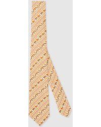 Gucci 【公式】 (グッチ)フレイヤ・ハルタス プリント シルク ネクタイアイボリーホワイト - メタリック