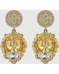 Gucci Löwenkopf-Ohrringe mit GG - Mehrfarbig