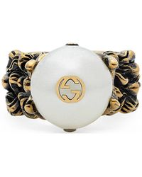 Gucci - Textured Ring With Cream Glass Pearl - Lyst