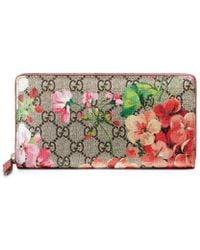 Gucci - Gg Blooms Supreme Zip Around Wallet - Lyst