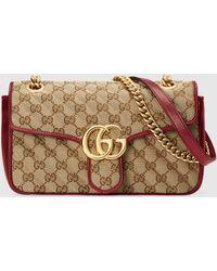 Gucci - グッチ公式〔GGマーモント〕スモール ショルダーバッグオリジナル GGキャンバス/レッドcolor_descriptionGGキャンバス - Lyst