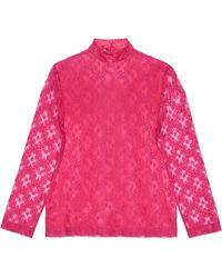 Gucci Camisa de encaje floral con gg - Rosa