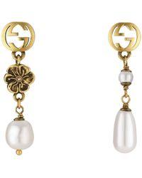 Gucci Interlocking G Flower Pearl Earrings - Metallic