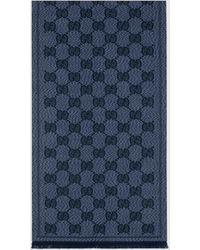 Gucci Schal aus Wolljacquard mit GG Motiv - Blau