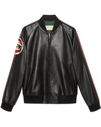 Gucci - Bomber in pelle con patch - Lyst