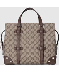 Gucci Shopper mit Lederdetails - Natur