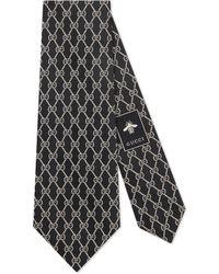 Gucci Krawatte aus Seide mit GG Ketten - Schwarz