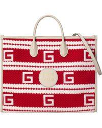 Gucci Monte Carlo Shopper mit Streifenmuster - Rot