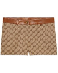 Gucci GG Canvas Shorts With Leather Trim - Natural