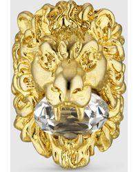 Gucci Löwenkopf-Ring mit Kristall - Mettallic