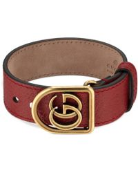 a9f8e6d0a914 Gucci - Bracelet In Leather With Double G - Lyst