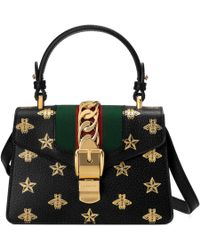 Gucci - Sylvie Bee Star Mini Leather Bag - Lyst