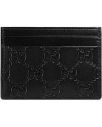 Gucci Porte-cartes en cuir signature - Noir