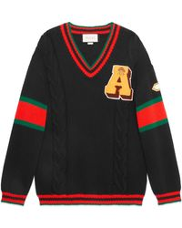 Gucci - Cable Knit Jumper With Patches - Lyst