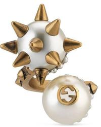 Gucci - Ring With Double Glass Pearl - Lyst