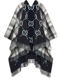 Gucci Wendbarer Poncho aus GG Wolle - Grau