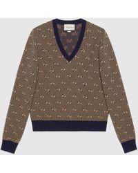 Gucci グッチGGストライプ ウール Vネック セーター - ブラウン