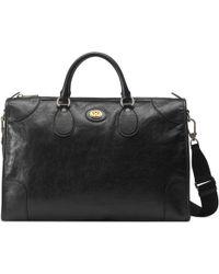 Gucci Mittelgroße Reisetasche aus weichem Leder - Schwarz