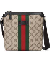 Gucci Beige GG Supreme Flat Messenger Bag - Natural