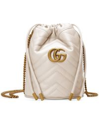 Gucci Mini sac seau GG Marmont - Blanc