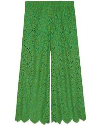 Gucci - Flower Lace Ankle Trousers - Lyst