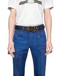 Gucci Cinturón de Piel con Hebilla de Serpiente - Negro