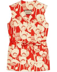 Gucci Poppy Flowers Print Silk Waistcoat - Red