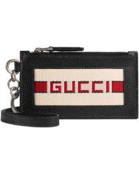 Gucci - Kartenetui aus Leder mit Streifen - Lyst
