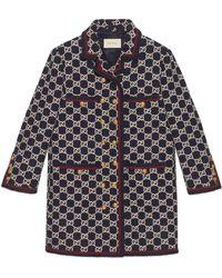 Gucci GG-jacquard Tweed Single-breasted Coat - Multicolour