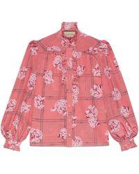 Gucci Chemise en soie à volants avec imprimé fleuri - Rose