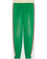 Gucci 【公式】 (グッチ) ヴィンテージロゴ付き コットンパンツグリーングリーン