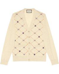 Gucci Cardigan en jacquard de laine avec symboles - Blanc