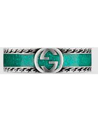 Gucci 【公式】 (グッチ)インターロッキングg リングターコイズ エナメル&シルバーundefined - グリーン