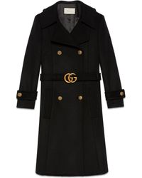 Gucci Wool Coat With Double G Belt - Black