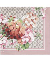 Gucci GG Blooms Print Silk Scarf - Pink