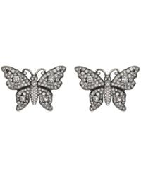 Gucci - Crystal Studded Butterfly Earrings - Lyst